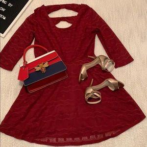 Xhilaration Burgundy Lace Dress-Large
